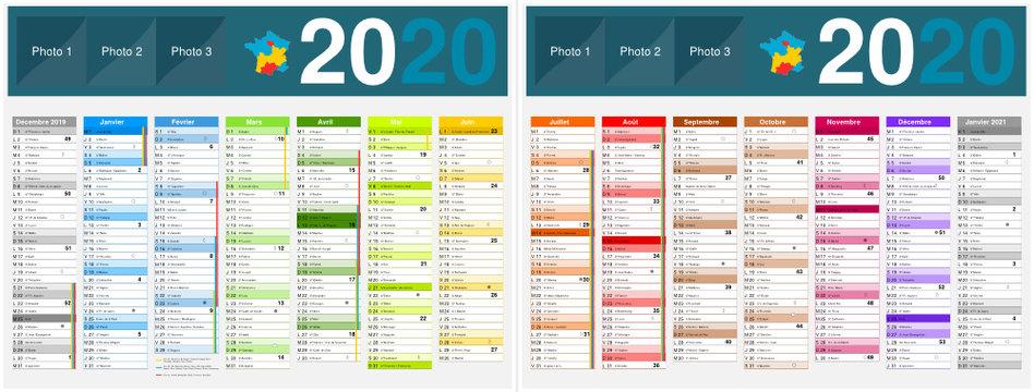 Calendrier 2020 14 mois avec vacances scolaires officielles au format 320 x 420 mm recto verso entièrement modifiable via calques et texte arial