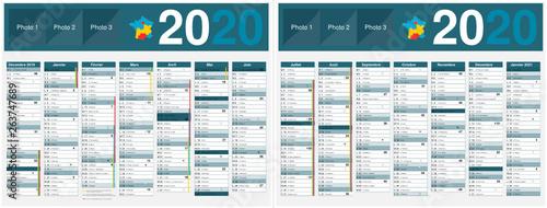 Calendrier 2020 Et 2020 Avec Vacances Scolaires.Calendrier 2020 14 Mois Avec Vacances Scolaires Officielles