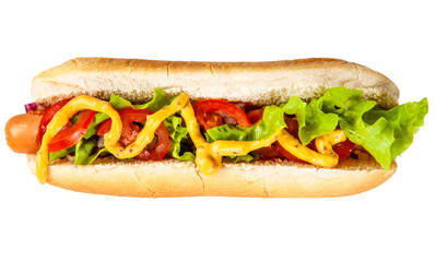 Fotoväggar - Delicious hotdogs on white background