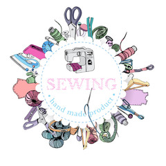 Circle composition with   items for sewing. Hand drawn ink and colored sketch of different elements isolated on white background.