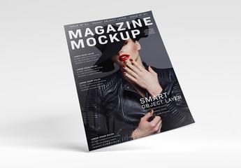 Floating Magazine Mockup on White Surface