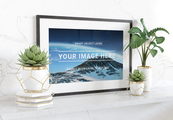 Horizontal Frame Leaning on Marble Shelf Mockup
