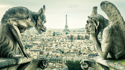 Gargoyles or chimeras on the Notre Dame de Paris overlooking the Paris city, France Fototapete