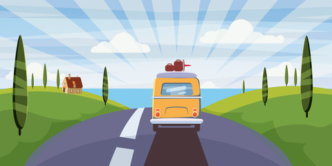 Travel van camper, bus on the road goes to the sea for a summer vacation. Holiday season vacation at sea