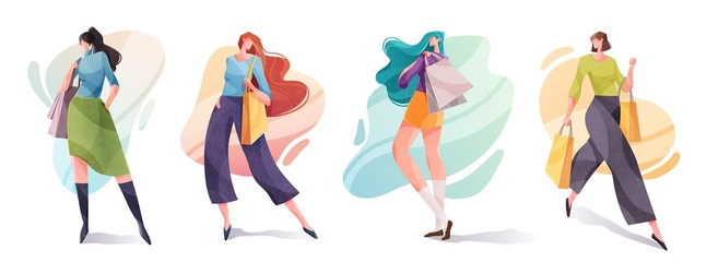 Beautiful fashion models with shopping bags from the store. Stylish cute girls in fashion clothes. Trendy style vector illustration