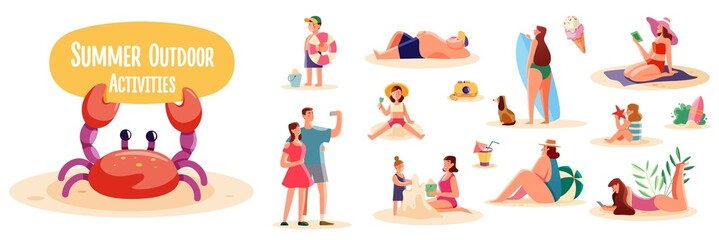 Crowd of people performing summer outdoor activities on the beach - walking dogs, surfing, sunbathing. Group of male and female flat cartoon characters isolated on white background