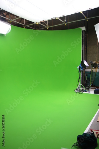 An empty green screen visual effects studio