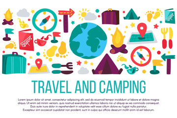 Travel and camping flat banner with text space