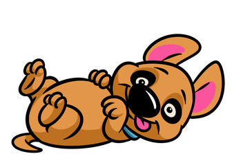 Little dog puppy lies plays animal character cartoon illustration isolated image