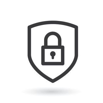 Shield security with lock icon. Flat style - stock vector.