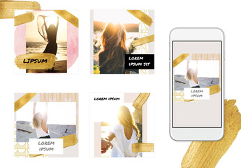 Social Media Post Layout Set with Gold Glitter Brush Strokes and Pattern Accents