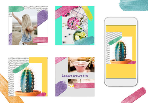 Social Media Post Layout Set with Rainbow Glitter Brush Strokes