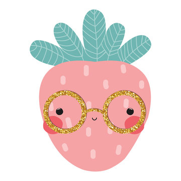 Strawberry with gold glitter glasses. Cute kids graphic. Vector hand drawn illustration.