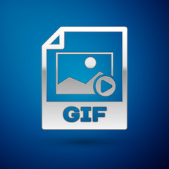 Silver GIF file document icon. Download gif button icon isolated on blue background. GIF file symbol. Vector Illustration