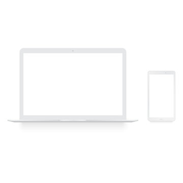 Realistic white laptop and smartphone mock up . Vector.