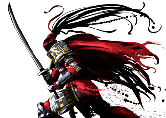 A samurai in a red vestment runs swiftly with a sword