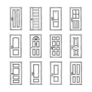 Front Doors Graphic Black White Isolated Set