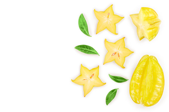 Carambola or star-fruit isolated on white background with copy space for your text. Top view. Flat lay