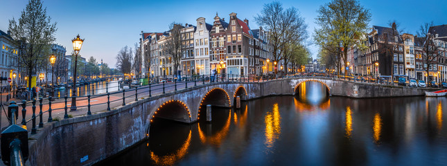 Aluminium Prints Amsterdam Night view of Leidsegracht bridge in Amsterdam, Netherlands
