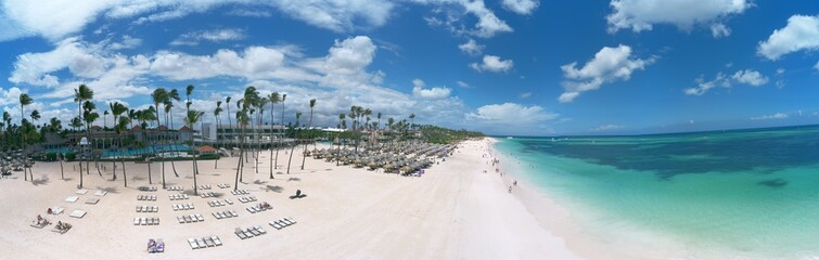 panoramic aerial view of a wonderful tropical caribbean beach, Punta Cana, Dominican Republic