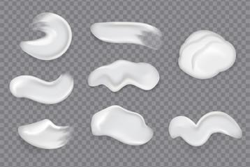 Realistic cosmetic cream smears. Realistic creams drop splashes skincare fresh moisturizing product lotion smear skin gel isolated vector set
