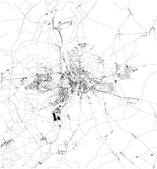 Satellite map of Poznań, it is a city on the Warta River in west-central Poland. Map of streets and buildings of the town center. Europe