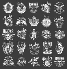 Vintage monochrome barbershop emblems