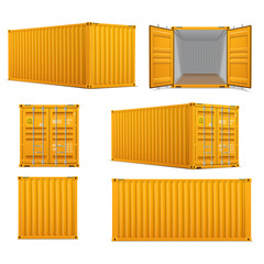 Realistic set of bright yellow  cargo containers.   Front, side back and perspective view.