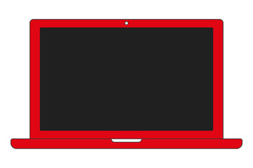 Red color notebook laptop front view with black screen and camera on white background. Red notebook vector eps10.