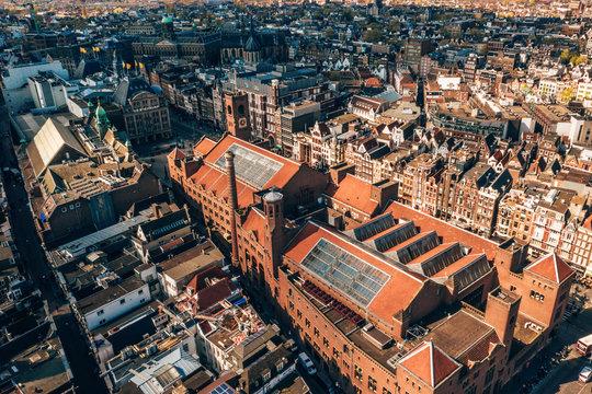 Beautiful aerial view of the Beurs van Berlage building in Amsterdam. City landscape.