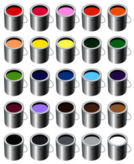 Paint Buckets Colors Set