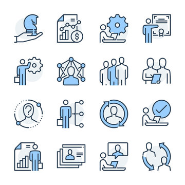 Human resources theme icon set. The set is vector, colored and created on 64x64 grids.