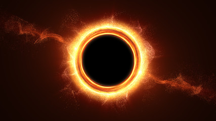Wall Mural - Futuristic head up display simulation of a Black Hole a region of space-time exhibiting such strong gravitational effects that nothing can escape