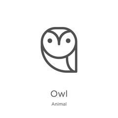 Foto op Plexiglas Uilen cartoon owl icon vector from animal collection. Thin line owl outline icon vector illustration. Outline, thin line owl icon for website design and mobile, app development.