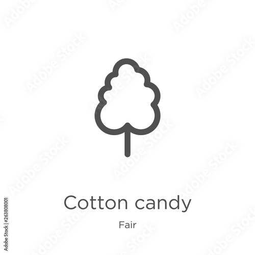 cotton candy icon vector from fair collection  Thin line