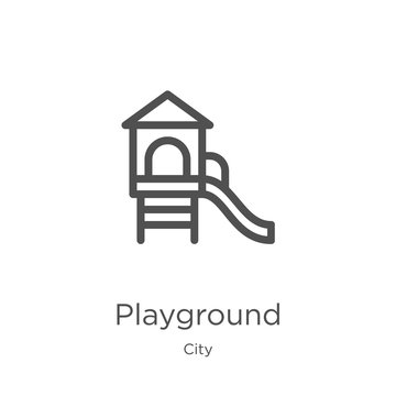 playground icon vector from city collection. Thin line playground outline icon vector illustration. Outline, thin line playground icon for website design and mobile, app development.