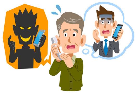 電話を使った詐欺に騙されるシニアの男性