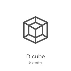 d cube icon vector from d printing collection. Thin line d cube outline icon vector illustration. Outline, thin line d cube icon for website design and mobile, app development.