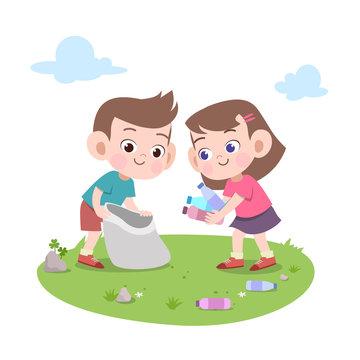 kids cleaning trash vector illustration