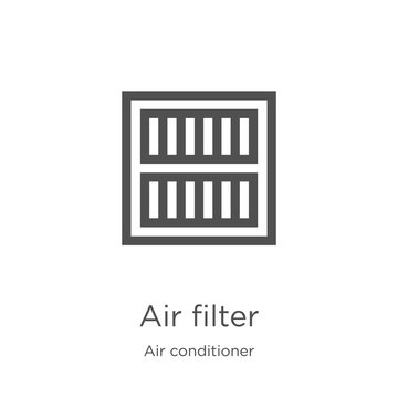 air filter icon vector from air conditioner collection. Thin line air filter outline icon vector illustration. Outline, thin line air filter icon for website design and mobile, app development.