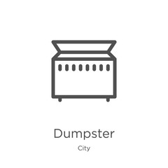 dumpster icon vector from city collection. Thin line dumpster outline icon vector illustration. Outline, thin line dumpster icon for website design and mobile, app development.