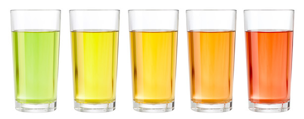 Various transparent juices in glasses isolated Fotomurales