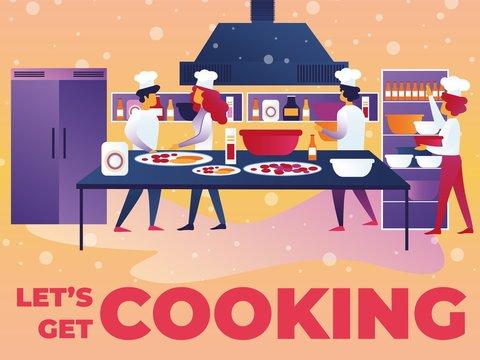 Vector Illustration Written Lets Get Cooking.