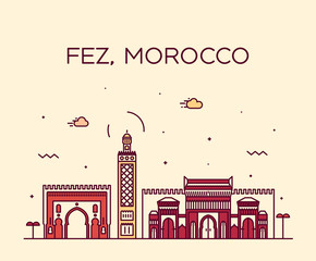 Fotomurales - Fez skyline Morocco Trendy vector linear style