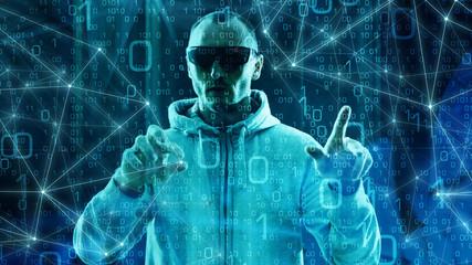 Fototapeta Digital brain machine learning computer algorithm digital technology machine learning big data in cyber war background