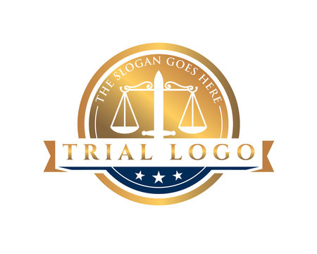 golden trial court emblem logo with scale and sword