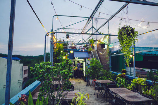 Rooftop restaurant Decorated with trees in the evening