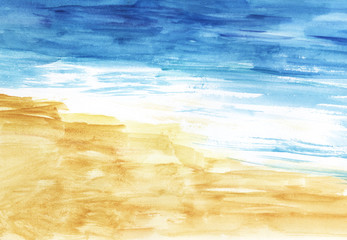 Abstract Watercolor background of golden beach, azure sea with white foam on waves. Hand-drawn illustration on textured paper.