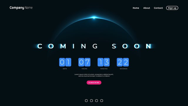 Coming Soon text on abstract Sunrise Dark Background with Flip countdown clock counter timer