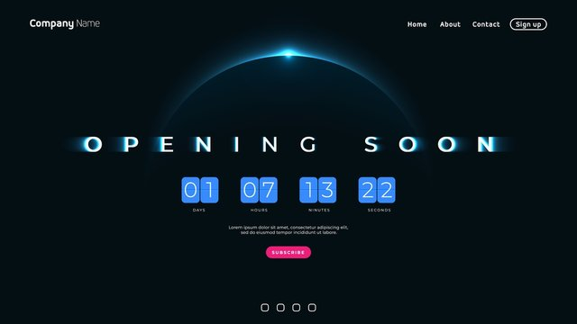 Opening Soon text on abstract Sunrise Dark Background with Flip countdown clock counter timer
